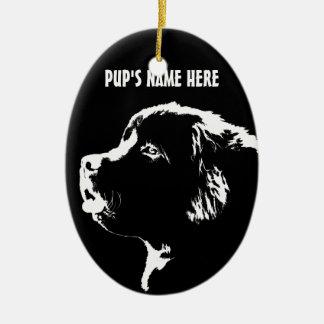 Decoración personalizada ornamento del perro de adorno ovalado de cerámica