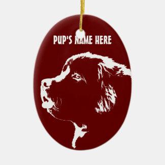 Decoración personalizada ornamento del perro de adorno navideño ovalado de cerámica
