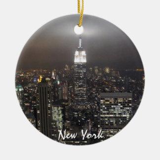 Decoración personalizada ornamento del recuerdo de adorno navideño redondo de cerámica