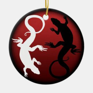 Decoración personalizada ornamento del reptil del adorno navideño redondo de cerámica