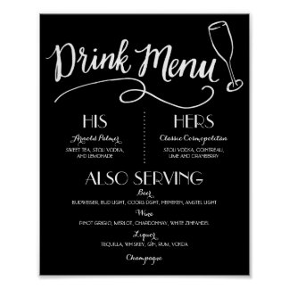 Decoración que se casa del menú el | de la bebida póster