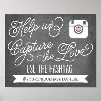 Decoración que se casa social de Hashtag el | de Póster