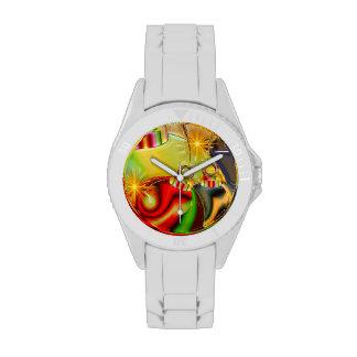 Decoración reflejada ornamento colorido del navida relojes de pulsera