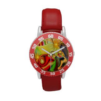 Decoración reflejada ornamento colorido del navida relojes de mano