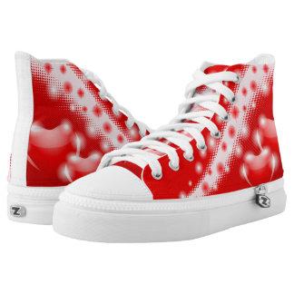 Decoración roja de los corazones zapatillas