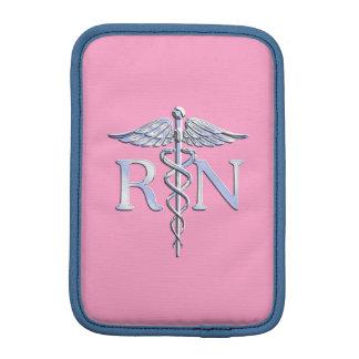 Decoración rosa clara del caduceo de la plata de fundas de iPad mini