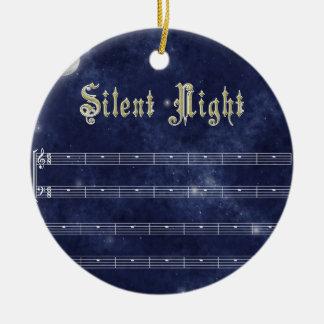 Decoración silenciosa de la noche - cielo nocturno adorno navideño redondo de cerámica