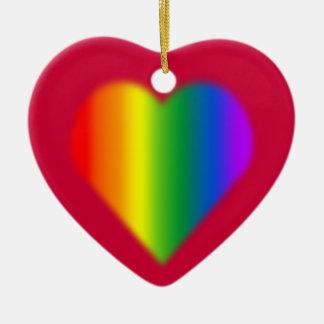 Decoración unisex gay del amor del ornamento del adorno navideño de cerámica en forma de corazón