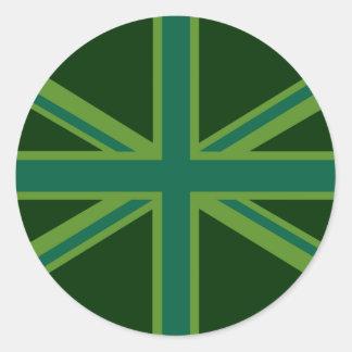 Decoración verde de la bandera de Union Jack Pegatina Redonda