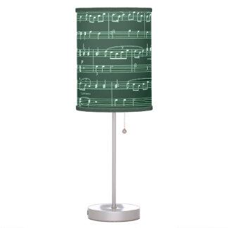 decoración verde de la partitura lámpara de mesa