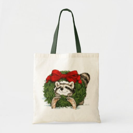 Decoración y mapache de la guirnalda del navidad bolsa tela barata