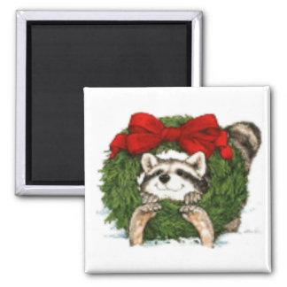 Decoración y mapache de la guirnalda del navidad imán para frigorifico
