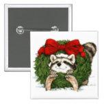 Decoración y mapache de la guirnalda del navidad pins
