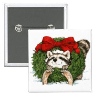 Decoración y mapache de la guirnalda del navidad pin cuadrada 5 cm
