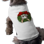 Decoración y mapache de la guirnalda del navidad camisetas de perro