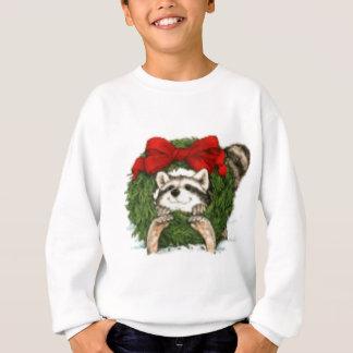 Decoración y mapache de la guirnalda del navidad sudadera