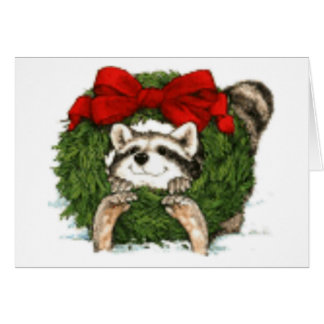 Decoración y mapache de la guirnalda del navidad tarjeta pequeña