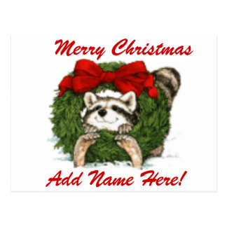 Decoración y mapache de la guirnalda del navidad tarjeta postal