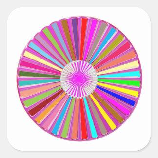 Decoraciones coloridas de Chakra de la rueda Pegatina Cuadrada