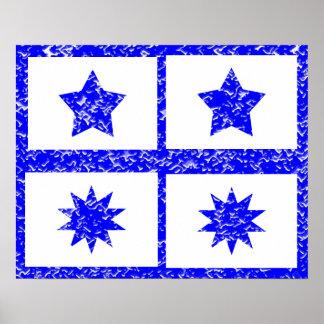Decoraciones de diez puntos de la estrella de Blue Póster