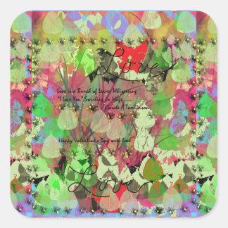 Decoraciones de la tarjeta del día de San Valentín Calcomanias Cuadradas