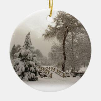 Decoraciones de los árboles de la nieve del adorno redondo de cerámica