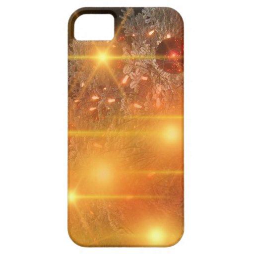 Decoraciones de oro del árbol de navidad del día iPhone 5 carcasas
