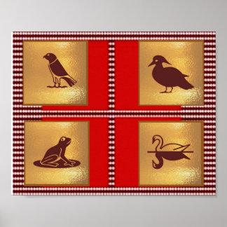 Decoraciones del arte de los pájaros de la RANA Impresiones
