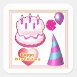 Decoraciones del globo de la torta de HappyBIRTHDA Pegatina Cuadradas