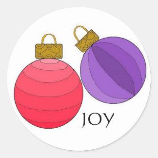 Decoraciones del navidad de la alegría pegatina redonda