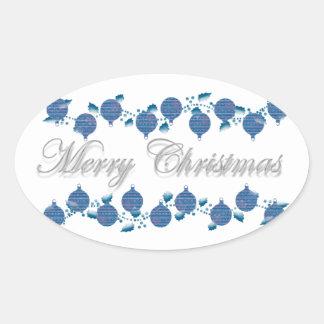 Decoraciones del navidad del acebo n modernas pegatina ovalada