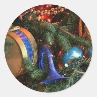 decoraciones del navidad etiqueta redonda