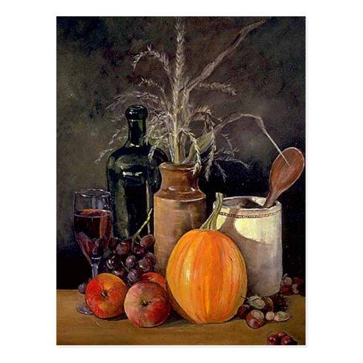 Decoraciones del otoño en la tabla postal