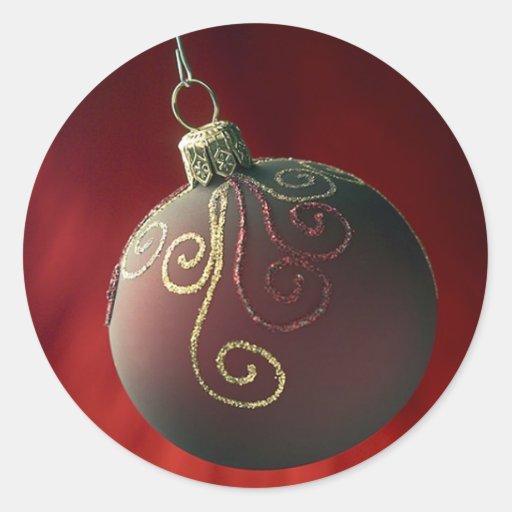 Decoraciones festivas del navidad del día de pegatina redonda