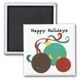 Decoraciones festivas del navidad imán cuadrado