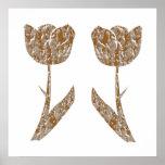 Decoraciones festivas - plata del oro de los tulip posters