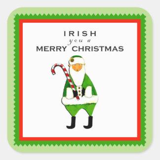 Decoraciones irlandesas del navidad pegatina cuadrada