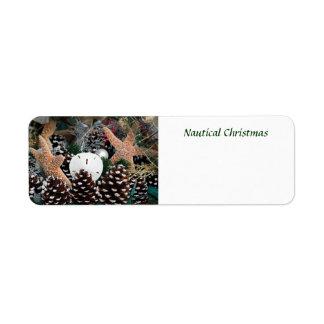 Decoraciones náuticas del navidad etiqueta de remite