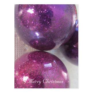 Decoraciones púrpuras del navidad tarjeta postal