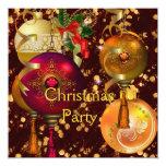Decoraciones rojas de Navidad del oro de la Invitación 13,3 Cm X 13,3cm
