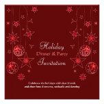 Decoraciones rojas elegantes de lujo del navidad comunicado personalizado