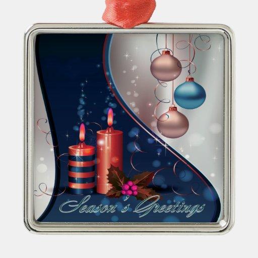 Decoraciones rojas y azules de la vela del navidad adorno navideño cuadrado de metal