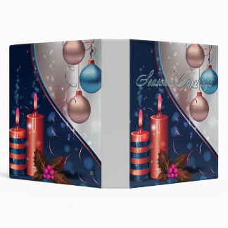 Decoraciones rojas y azules de la vela del navidad