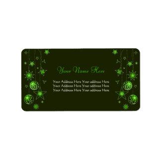 Decoraciones verdes elegantes de lujo del navidad etiquetas de dirección