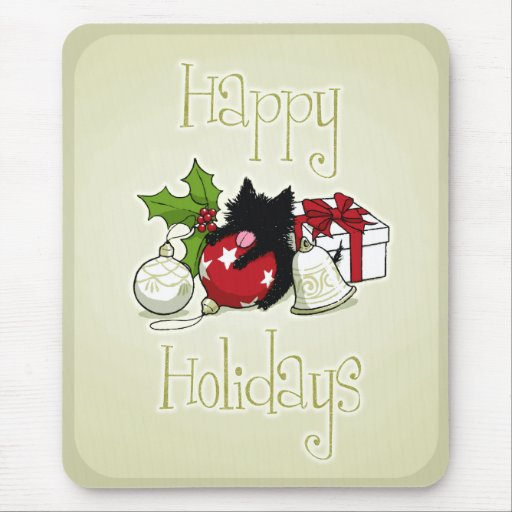 Decoraciones y gatito negro (buenas fiestas) tapete de ratones