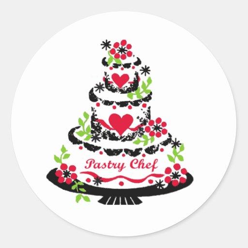 Decorador de la torta en la torta pegatina redonda
