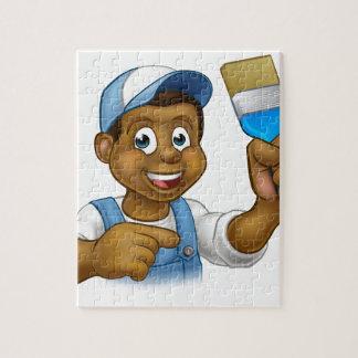 Decorador negro del pintor del dibujo animado puzzle