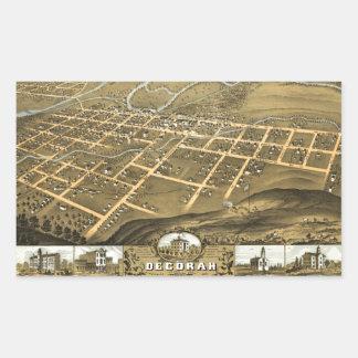 Decorah, Winneshiek County, Iowa (1870) Rectangular Sticker