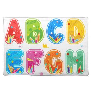 Decorated ABC set, letters A-L Cloth Placemat