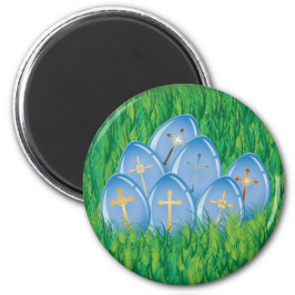 Decorated blue Easter eggs on grass Magnet